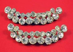 Vintage 1930s Twin Crescent Shape Rhinestone Brooches In Pot Metal | AtticClosetVintage - Jewelry on ArtFire