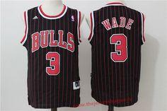 Chicago Bulls #3 Dwyane Wade Black Pinstripe Revolution 30 Swingman Adidas Basketball Jersey