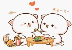 蜜桃猫 Cute Cartoon Pictures, Cute Love Pictures, Cute Love Cartoons, Cute Bear Drawings, Cute Cartoon Drawings, Kawaii Drawings, Cute Anime Cat, Cute Cat Gif, Cute Cats