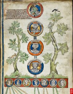 'Genealogy of the Dukes of Normandy'    The line of the dukes of Normandy from Rollo (d. c. 932), to Duke Richard I the Fearless (d. 996), ancestors of William the Conqueror, received here unprecedented visual prominence. It marks a dynastic change in England that resulted from the Conqueror's invasion and integrates his Norman lineage into the line of the English Royal succession.