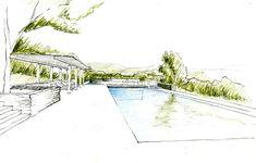 Sonoma Spa Retreat, pool sketch by Aidlin Darling Design. Via La Boheme