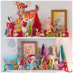 Colorful retro vintage christmas deer collection thats colorful Gingerbread Christmas Decor, Retro Christmas Tree, Vintage Christmas Crafts, Retro Christmas Decorations, Merry Christmas, Christmas Deer, Modern Christmas, Vintage Holiday, Winter Christmas