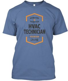 Hvac Technician Logo Tees Denim Blue T-Shirt Front