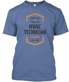 Hvac Technician Logo Tees Denim Blue T-Shirt Front