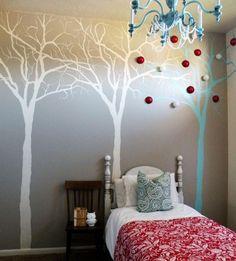 kreative Idee für Wandgestaltung mit Muster auf Bäume