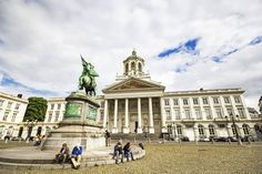 Royal Square in Brussels Belgium. Statue of Godfrey of Bouillon and the Neoclassical Coudenberg building