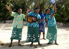 Staff playing welcome songs at Beachcomber Island.