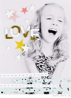 J'AIME la page complète en photo, les bandes de papier, les étoiles éparpillées