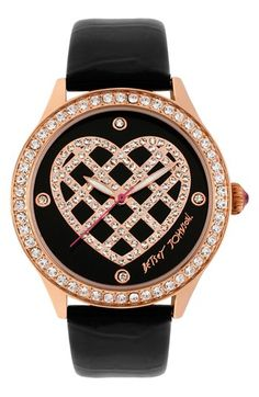 Betsey Johnson Lattice Heart Dial Watch, 42mm available at #Nordstrom