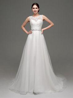 Hochzeitskleid - Weiß Organza/Tüll - A-Linie - Blusher/ Pinsel -Schleppe - Bateau - Ausschnitt - EUR €112.09