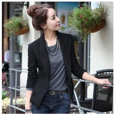 01c27986393 Spring Autumn Blazer Women 2014 New blazer feminino Slim One Button Suit  Jacket Plus Size Black