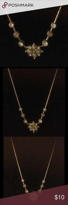 """Vintage Necklace 18"""" Vintage Necklace 18"""" long silver plated, with opal stones and rhinestones. Jewelry Necklaces"""