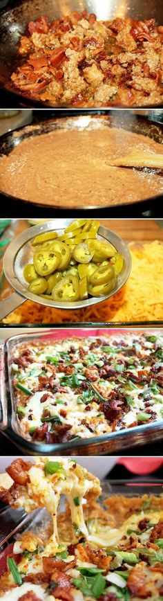 Hot 7 Layer Bean Dip. This dish is quick and simple, fry some diced bacon, then add some fresh andouille sausage to the bacon grease and cook until crispy, remove from pan and add beans to pureed pinto beans to bacon/sausage grease. Yes, people it's a holiday so add the beans to the grease please.