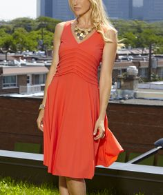 Coral Pleated V-Neck Dress | something special every day