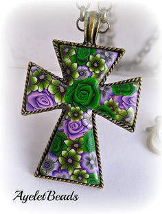 polymer clay cross by AyeletBeads Pretty!!