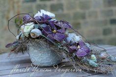 Flowers Grave Decorations, Flower Decorations, Wedding Flower Arrangements, Floral Arrangements, Orchid Centerpieces, Purple Wedding Flowers, Funeral Flowers, Simple Flowers, Flower Boxes