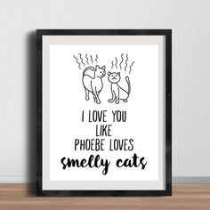I Love You like Phoebe Loves Smelly Cats! Friends Poster - Phoebe Buffay