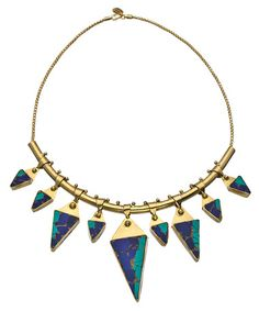 Karen London Gold Brass Lapis and Turquoise Desert Moon Bib Necklace #maxandchloe