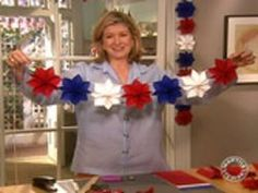 Martha's video tutorial for making paper stars for 4th of July garland. Could do in other colours for other holidays.