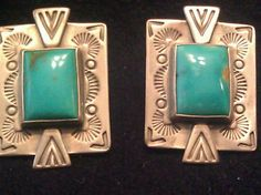 OLD Carlisle Carolyn Pollack Sterling Silver Earrings Turquoise Center | eBay