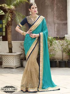 Beige & Green Colour Satin Chiffon & Net Embroidered Saree - Party Wear - Shop By Occasion - Sarees