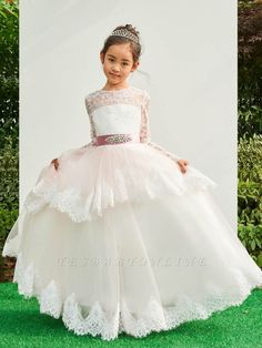Cheap Tulle Lace Long Sleeves Flower Girl Dress Online with Bowknot Cheap Flower Girl Dresses, Tulle Flower Girl, Tulle Flowers, Tulle Lace, Top Y Pollera, Cheap Tulle, Bridal Gowns, Wedding Dresses, Lace Dresses