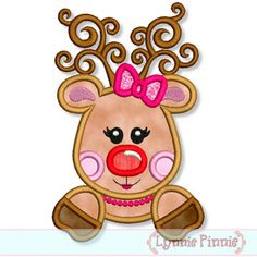 GIRLY REINDEER Applique 4x4 5x7 6x10 7x11 Machine Embroidery Design Christmas santa  INSTANT Download on Etsy, $2.99