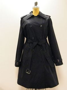 *WOW* Black HUNTER Button Out Lined Trench Coat with Belt Sz 12/LG Retail $350 #HUNTER #Trench
