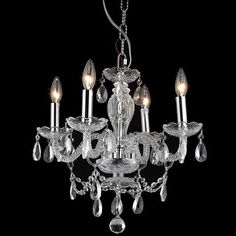 Brighten your home decor with this elegant four-light, crystal-accented chandelier. This chandelier features a rich chrome finish for a sleek, modern look.