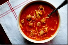 THIS WAS SO GOOD. I made it with turkey meatballs and whole wheat spaghetti and it was still awesome. If you cannot find mini meatballs -- I buy frozen big and just quarter them after cooking them in the oven. Works perfectly! spaghetti and meatball soup