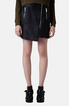 Topshop Quilted Asymmetrical Faux Leather Skirt available at #Nordstrom
