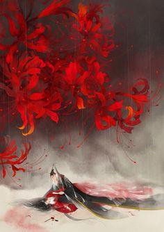 Manga Art, Anime Art, Red Spider Lily, Lily Wallpaper, Chinese Drawings, Art Corner, Korean Art, China Art, Human Art