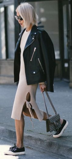 Vanessa Hong + super suave + knitted sweater dress + oversized leather jacket and sneakers + broader figure + tight dress + maintain your femininity   Dress: THPLAB, Jacket: Coach, Bag: Gucci Dionysus, Sneakers: Superga. Spring Outfits.... | Style Inspiration