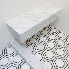 hex pattern tile floor // bathroom // grant gibson