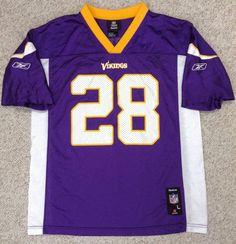 YOUTH Boys Lrg 14-16 MINNESOTA VIKINGS #28 ADRIAN PETERSON JERSEY Purple Reebok #Reebok #MinnesotaVikings