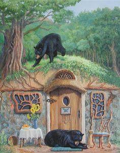 """The Bear's House"" by Joy Campbell Eclectic Artwork, Fairytale Art, Bear Art, Children's Book Illustration, Book Illustrations, Whimsical Art, Conte, Fine Art Gallery, Textile Art"