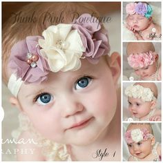 CHOOSE COLOR Baby Headbands,Baby girl Headband,Newborn Headband, Chic Flower Headband, Baptism Headband, Baby Headbands,Hair Bows.