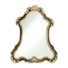 Lavish, formal, and detailed. This dramatic mirror is inspired by Baroque and Italian design. Finished in dark brown mahogany with antiqued gold applied to its ornate scrolls, leaves, and center carvings, it
