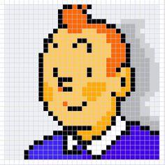 Tintin chart - Might make this one for Mark Perler Beads, Pixel Art Templates, Perler Bead Templates, Pixel Pattern, Pattern Art, Hama Beads Patterns, Beading Patterns, Cross Stitch Designs, Cross Stitch Patterns