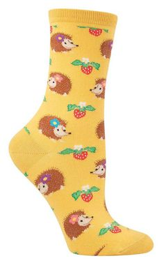 How could you not adore these incredibly fun hedgehog socks? Despite their spiky exterior, you know these cuddly pets have a heart of gold. Pair them with an equally cute cartoon image of strawberries, and you have a match made in dream pet heaven.