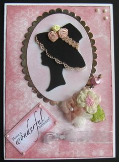 Pink Cameo birthday card by AlliDCards at www.creativestores.co.uk; hat on cameo; cool