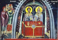 """Greek eastern orthodox byzantine icon of """"The Tabernacle"""" The Tabernacle, Byzantine Icons, Orthodox Icons, Christian Art, Painting, Angel, Icons, Catholic Art, Painting Art"""