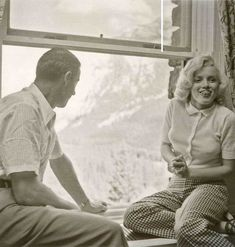 """Marilyn Monroe with Joe DiMaggio at Banff Hotel in Canada, where Marilyn was filming """"River of No Return"""" ~ 1953"""