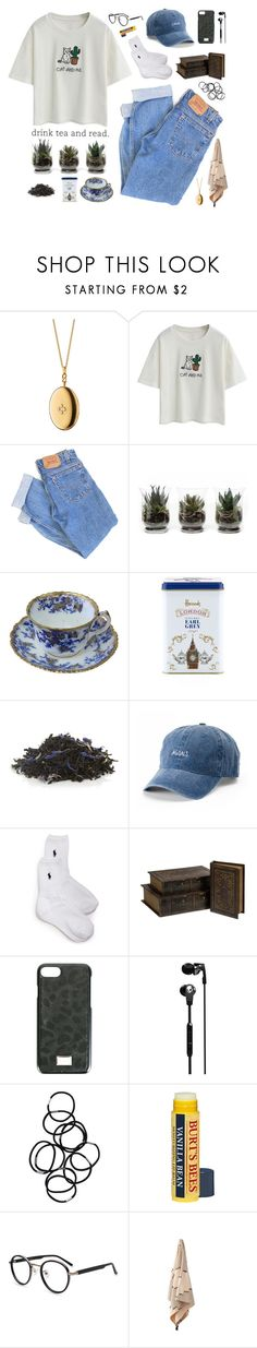 """drink tea and read"" by regkelly ❤ liked on Polyvore featuring Monica Rich Kosann, Chicnova Fashion, Levi's, Harrods, TWG Tea Company, SO, Ralph Lauren, IMAX Corporation, Dolce&Gabbana and Skullcandy"