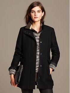 Black Mixed-Media Coat