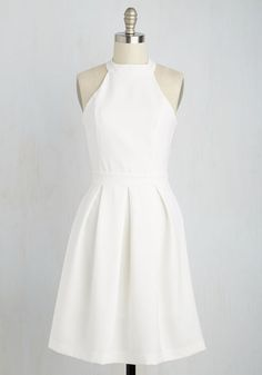 Joy to the Twirl Dress - White, Solid, Pleats, Casual, A-line, Sleeveless, Spring, Better, Mid-length, Knit