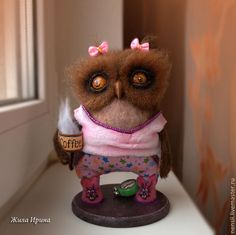 How cute is this!  Little morning owl with her coffee, alarm clock and love those bunny slippers!  By Irina Lived from the Ukraine