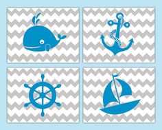 NAUTICAL NURSERY PRINTS Decor Wall Art Chevron Blue Gray Sailboat Baby Boy Turquoise Teal Grey Sea Life Shower Gift Whale Anchor Zig Zag #decampstudios