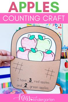 Fall is here and so are my fall crafts for kindergarten! Use this apple math craft in your September math centers or as morning work! Students use their counting skills to identify how many red and green apples are in the basket and then write the numerals. These make for great classroom decoration during the fall! Beginning Of Kindergarten, Miss Kindergarten, Kindergarten Crafts, Number Sense Activities, Hands On Activities, Classroom Activities, Cute Bulletin Boards, September Activities, Math Pages