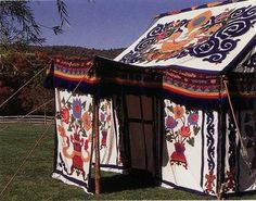 A Tibetan tent! private handworked tent purchased from Tibetan craftsmen en route to Mount Everest. The tent was featured in Chris Madden's 1997 book, A Room of her Own.